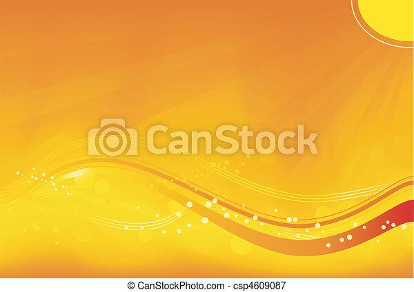 偉人, 要素, グランジ, いいえ, 太陽, 抽象的, transparencies., 黄色, 秋, オレンジ, 波状, 背景 パターン, 飽和させられた, 光線, red., themes. - csp4609087