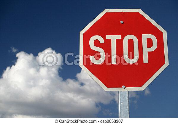 停止, 紅色, 簽署 - csp0053307