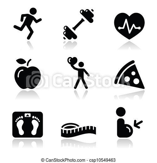 健康, アイコン, 黒, きれいにしなさい, フィットネス - csp10549463