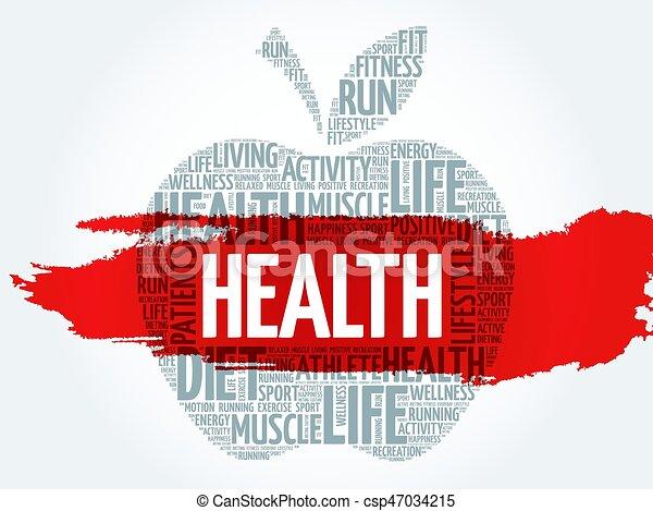 健康, 単語, アップル, 雲 - csp47034215