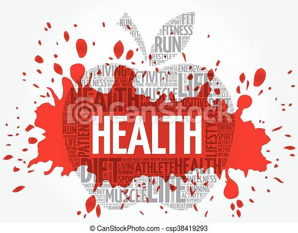 健康, 単語, アップル, 雲 - csp38419293
