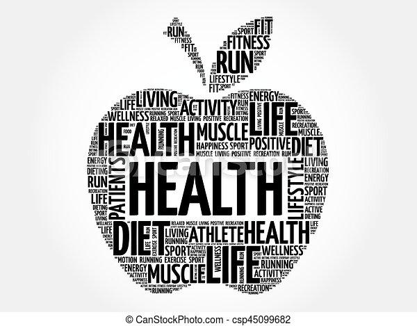 健康, 単語, アップル, 雲 - csp45099682