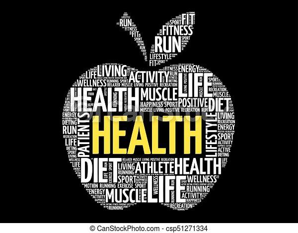 健康, 単語, アップル, 雲 - csp51271334