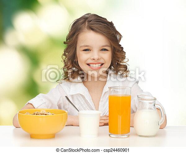 健康, 女の子, 朝食を食べること, 幸せ - csp24460901