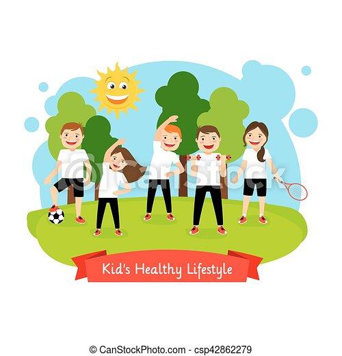 健康, 子供, ライフスタイル, イラスト - csp42862279