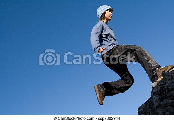 健康, 屋外で, ロッククライミング, 子供, 遊び, 幸せ - csp7382944