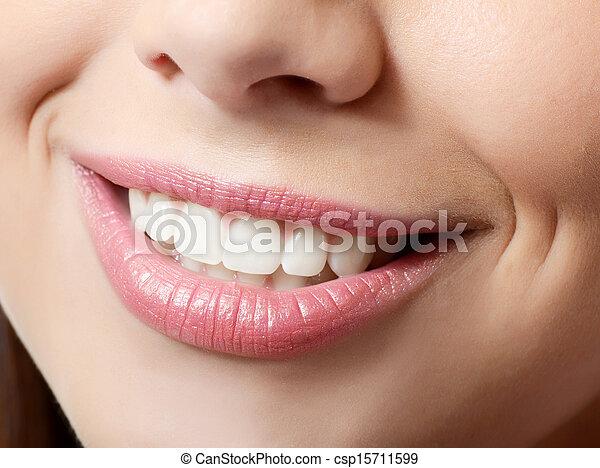健康, 微笑, 妇女, 牙齿 - csp15711599