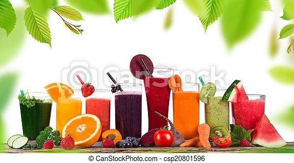 健康, 新たに, drinks., 果物ジュース - csp20801596
