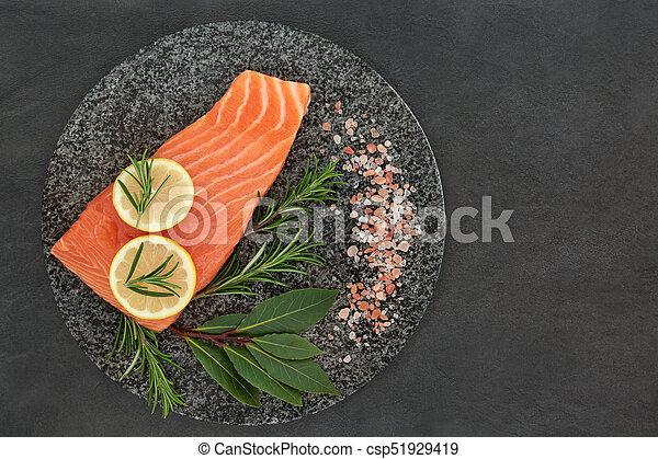 健康, 新鮮なサケ, 食物 - csp51929419