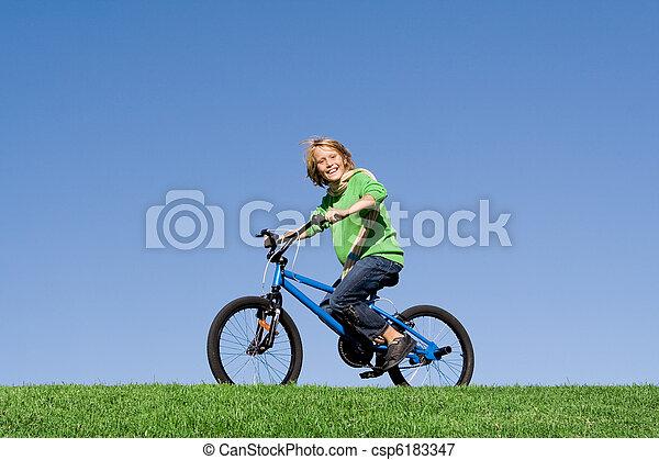 健康, 自転車, 屋外で, 乗馬, 子供, 遊び, 幸せ - csp6183347