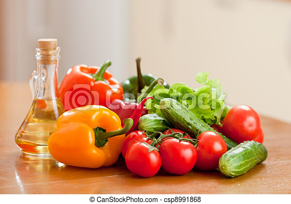 健康, 野菜, 浅い, 食物, 深さ, 新たに, テーブル。, 木製である - csp8991868