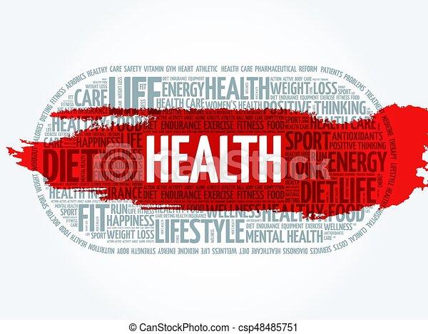 健康, 雲, 単語, フィットネス - csp48485751