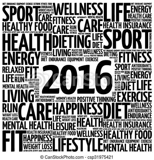 健康, 2016, 単語, 雲 - csp31975421