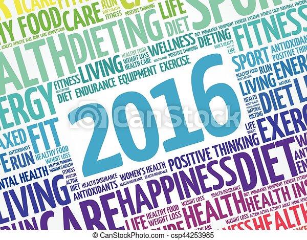 健康, 2016, 単語, 雲 - csp44253985