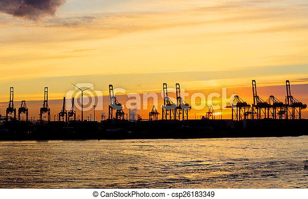 傍晚, 港口, 漢堡 - csp26183349