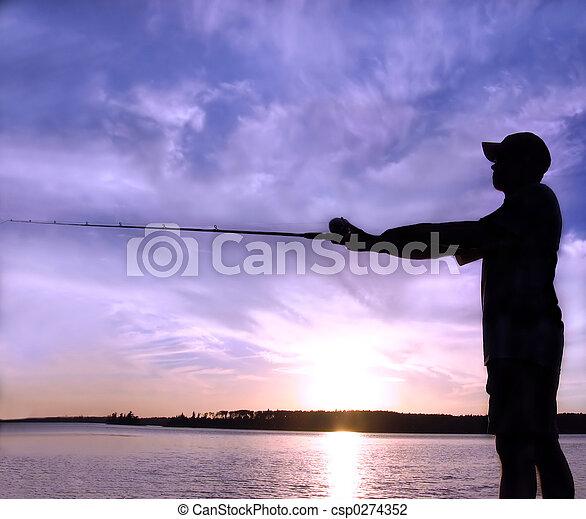 傍晚, 釣魚 - csp0274352