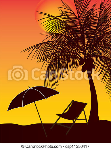 傘, ココナッツ 木, リラックスしなさい - csp11350417