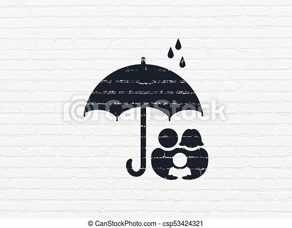 傘, 家族, 壁, 保護, 背景, concept: - csp53424321