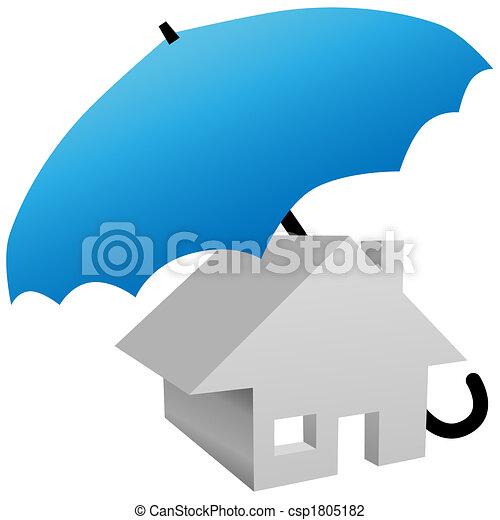 傘, 家, 保護される, 安全, 家の 保険 - csp1805182