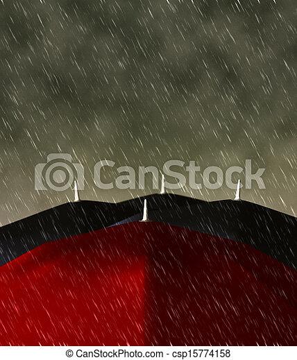 傘, 赤, 雨 - csp15774158