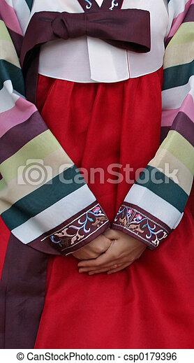 傳統, 韓國語, 衣服 - csp0179396