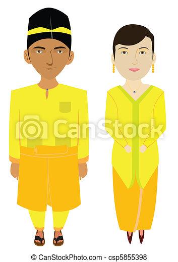 傳統, 馬來西亞, malays, 服裝 - csp5855398