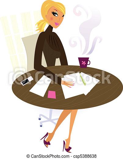 働く女性, 仕事, オフィス - csp5388638
