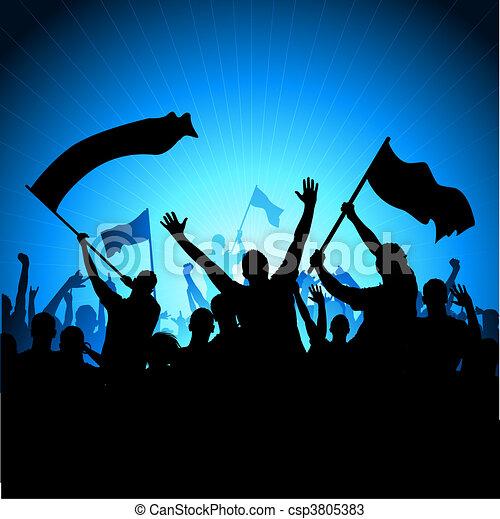 元気づけること, 聴衆, 旗 - csp3805383