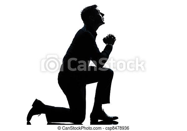 充分, 黑色半面畫像, 長度, 祈禱, 跪, 人 - csp8478936