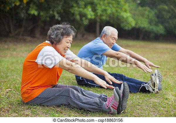 先輩, 仕事, 恋人, 公園, 年配, から, 幸せ - csp18863156