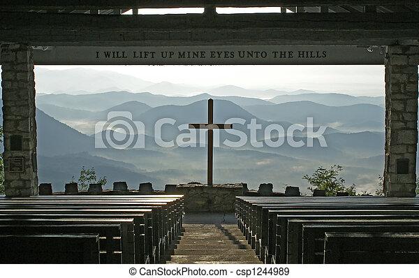 光景, 山。, 教会 - csp1244989