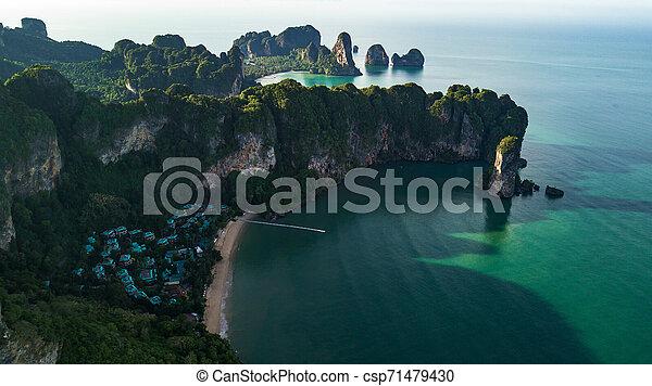 光景, 浜, 風景, タイ, 航空写真, krabi, 山, ∥あるいは∥, 海岸 - csp71479430