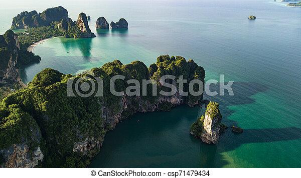 光景, 浜, 風景, タイ, 航空写真, krabi, 山, ∥あるいは∥, 海岸 - csp71479434