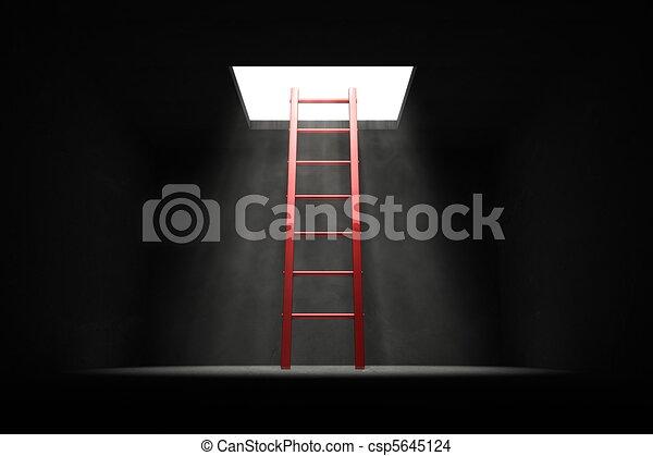 光, 梯子, -, 黑暗, 出口, 紅色 - csp5645124