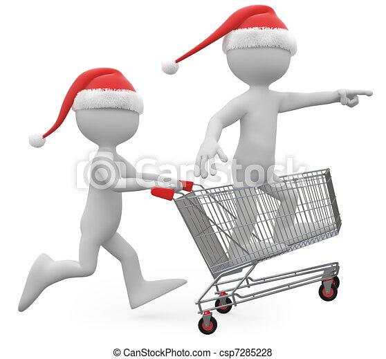 克勞斯, 推, 購物, 聖誕老人, 車 - csp7285228