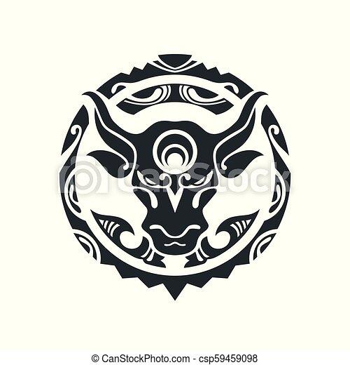 入れ墨, スタイル, polynesian, 雄牛 - csp59459098