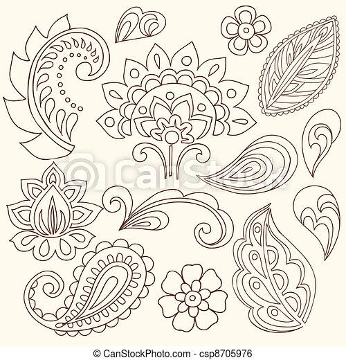 入れ墨, ペイズリー織, ベクトル, henna, doodles - csp8705976