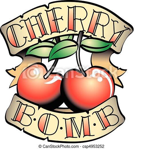 入れ墨, 爆弾, クリップ, さくらんぼ, デザイン, 芸術 - csp4953252