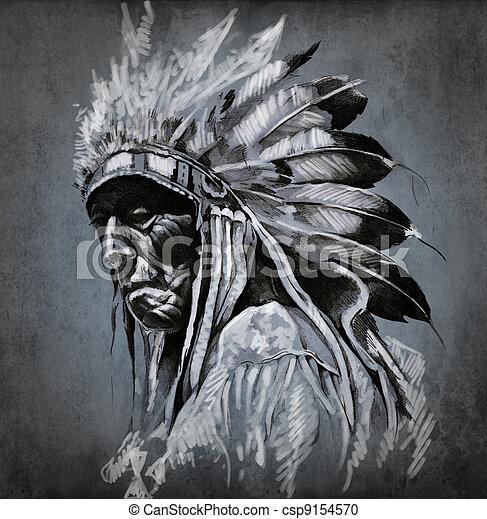 入れ墨, 頭, 上に, 暗い, アメリカインディアン, 背景, 肖像画, 芸術 - csp9154570