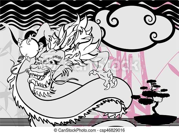 入れ墨, baboo, アジア人, 背景, ドラゴン - csp46829016