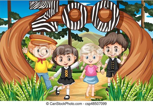 入口, 子供, 動物園 - csp48507099