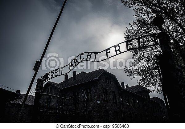 入口, 营房, 波兰, auschwitz, 我, 集中, 主要, 纳粹, 以前 - csp19506460