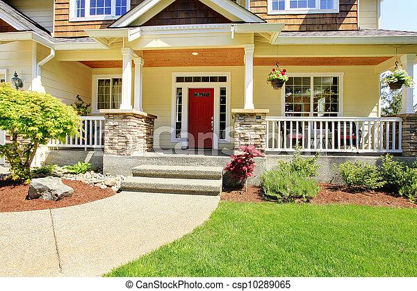 入口, house., アメリカ人, 外面, 前部, すてきである - csp10289065