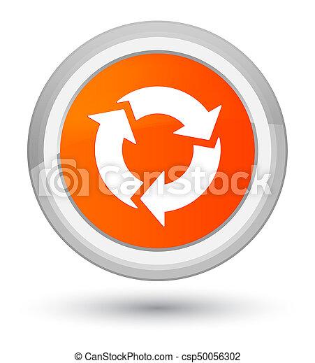 全盛, ボタン, 新たにしなさい, オレンジ, ラウンド, アイコン - csp50056302