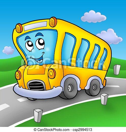 公共汽車, 學校, 黃色的道路 - csp2994513