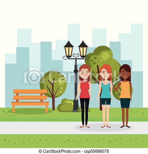 公園, グループ, 人々 - csp55686078