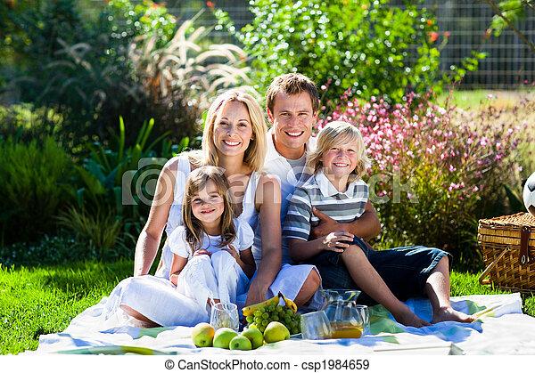 公園, ピクニック, 若い 家族, 持つこと - csp1984659
