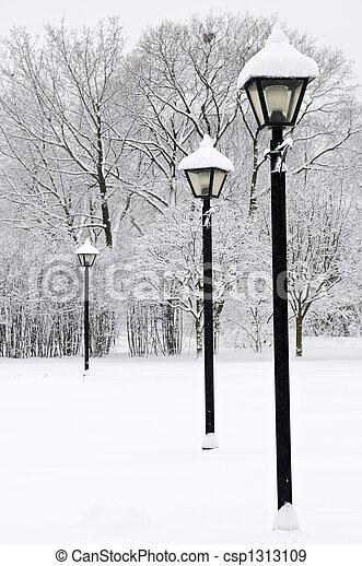 公園, 冬 - csp1313109