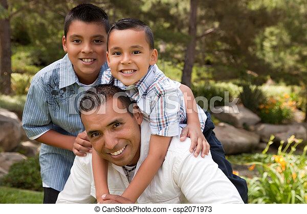 公園, 息子, 父 - csp2071973