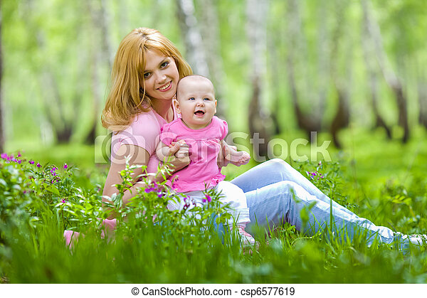 公園, 春, シラカバ, 娘, 母 - csp6577619